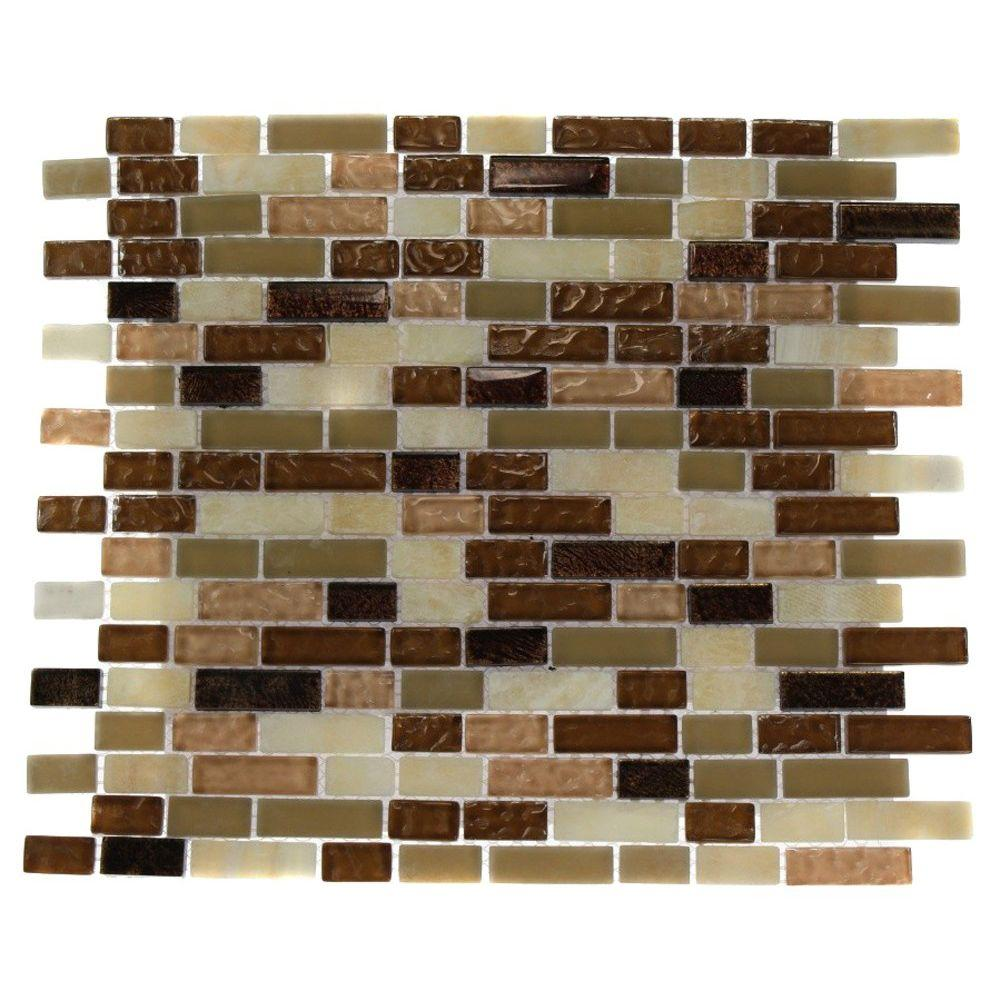Splashback Tile Southern Comfort Brick Pattern 12 in. x 12 in. x 8 mm Marble and Glass Mosaic Floor and Wall Tile