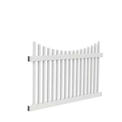 Ottawa Scallop 4 ft. H x 6 ft. W White Vinyl Fence Panel Kit