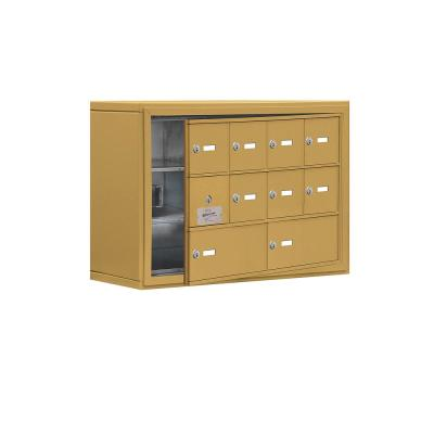 19100 Series 30.5 in. W x 20 in. H x 9.25 in. D 9 Doors Cell Phone Locker Surface Mount Keyed Lock in Gold