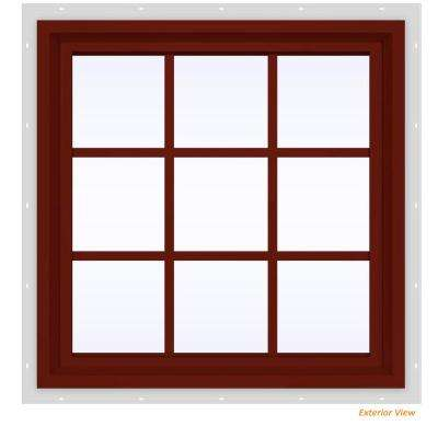 35.5 in. x 35.5 in. V-4500 Series Red Painted Vinyl Fixed Picture Window with Colonial Grids/Grilles