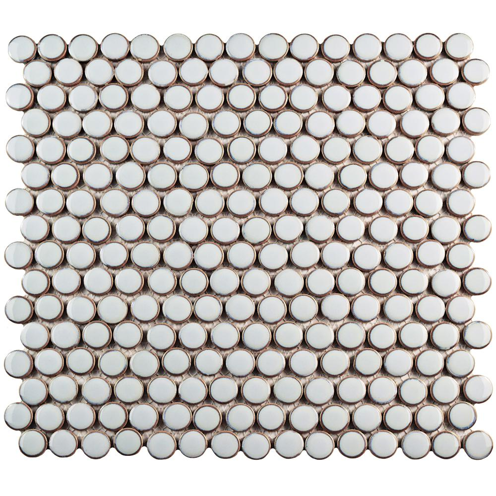 Merola Tile Hudson Penny Round Silk White Porcelain Mosaic Tile - 6 in. x 6 in. Tile Sample