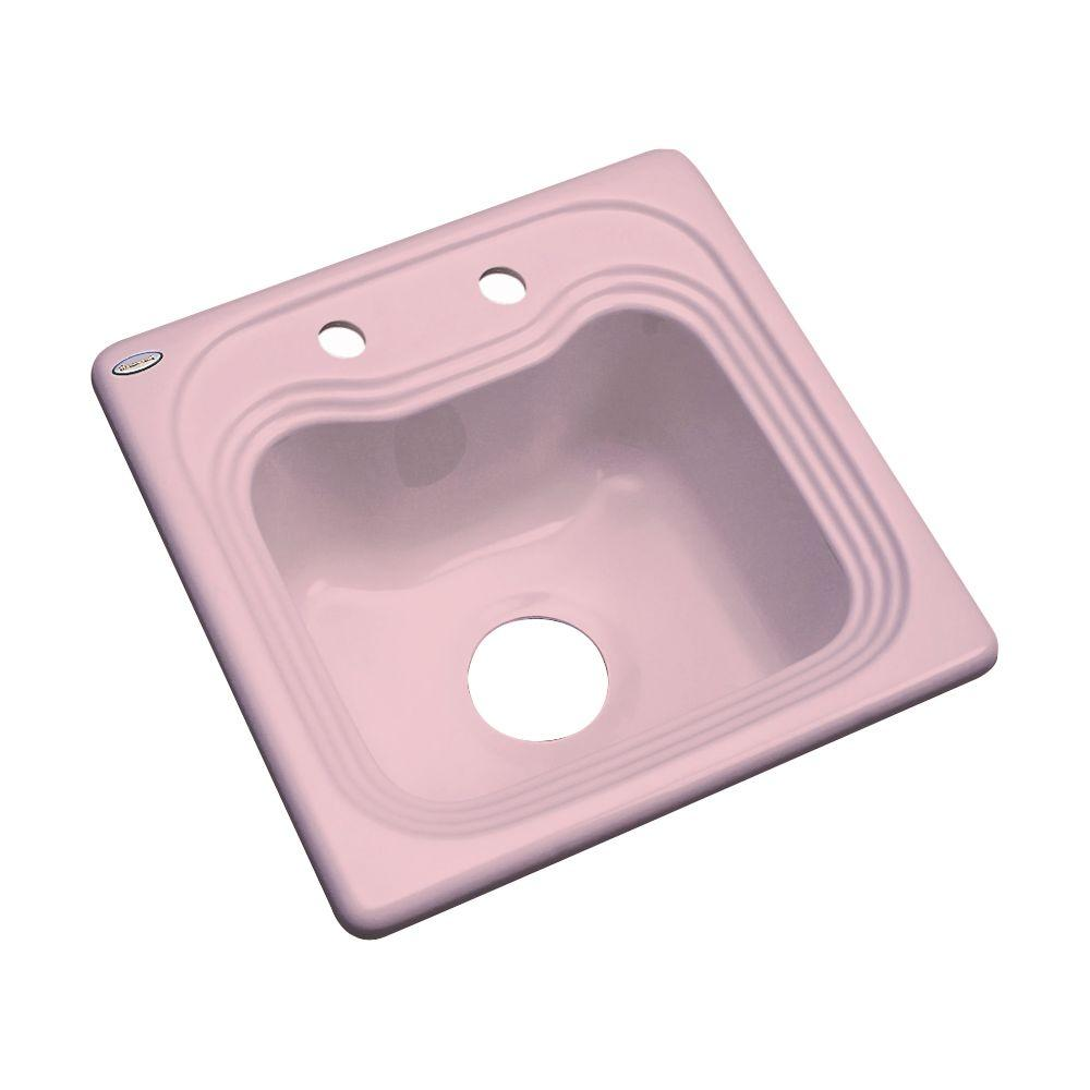 Thermocast Oxford Drop-In Acrylic 16 in. 2-Hole Single Basin Entertainment Sink in Dusty Rose
