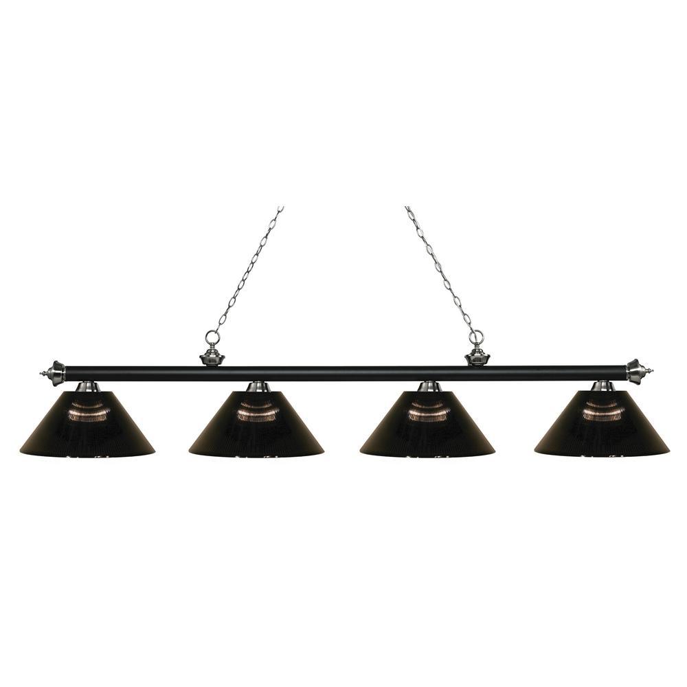 Porter 4-Light Matte Black and Brushed Nickel Billiard Light with Smoke Acrylic Shade