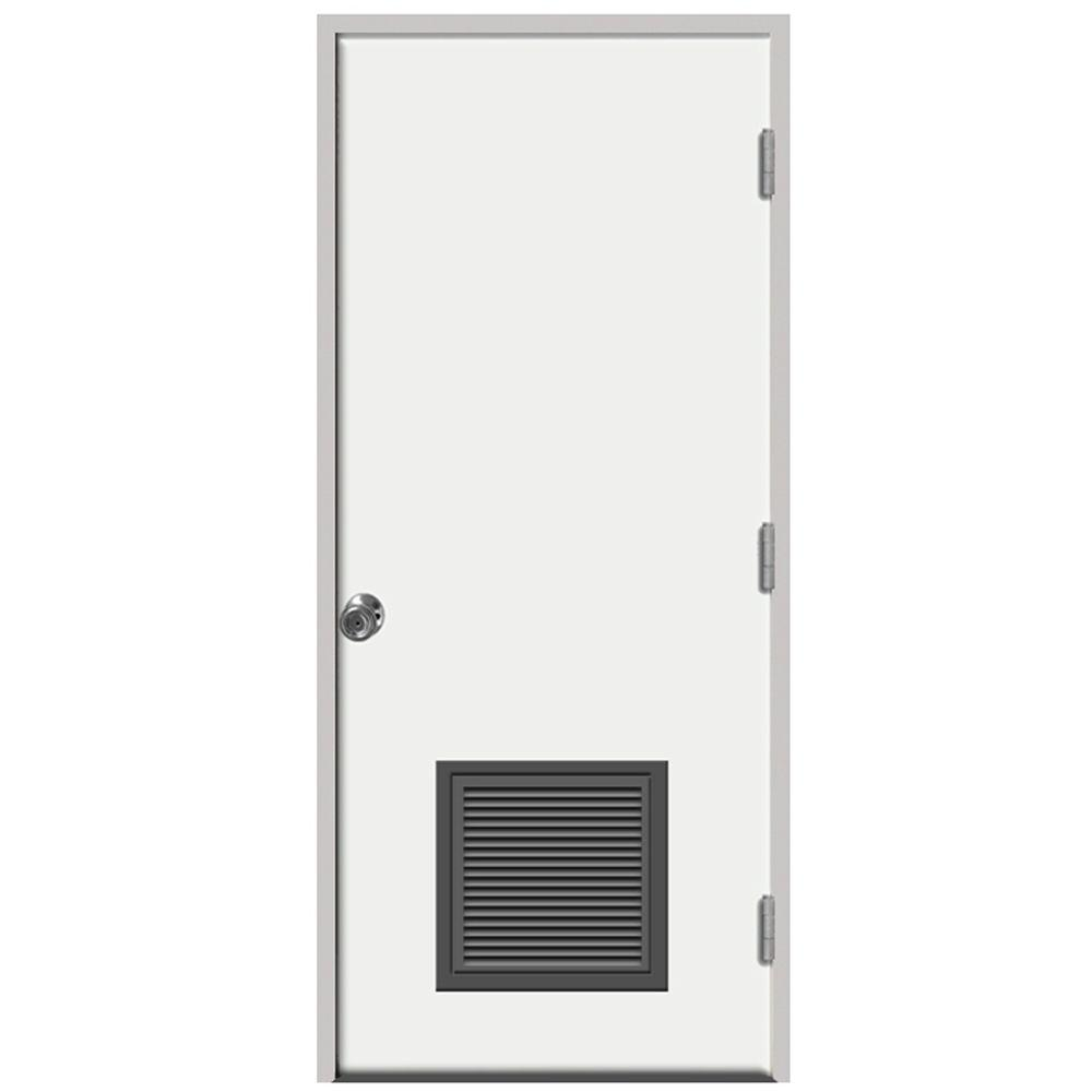 Merveilleux Premium Vented Flush Primed White Left Hand Outswing Steel Prehung Front  Door With 4 In. Wall
