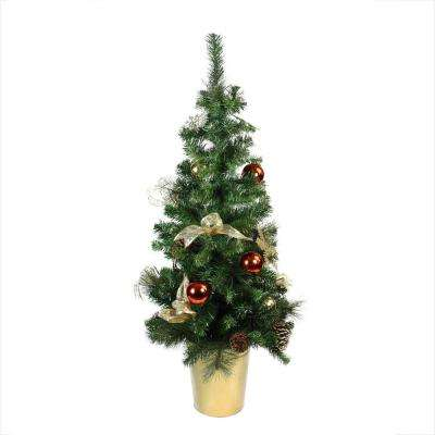 48 in. Unlit Pre-Decorated Red Gold and Copper Potted Artificial Christmas Tree
