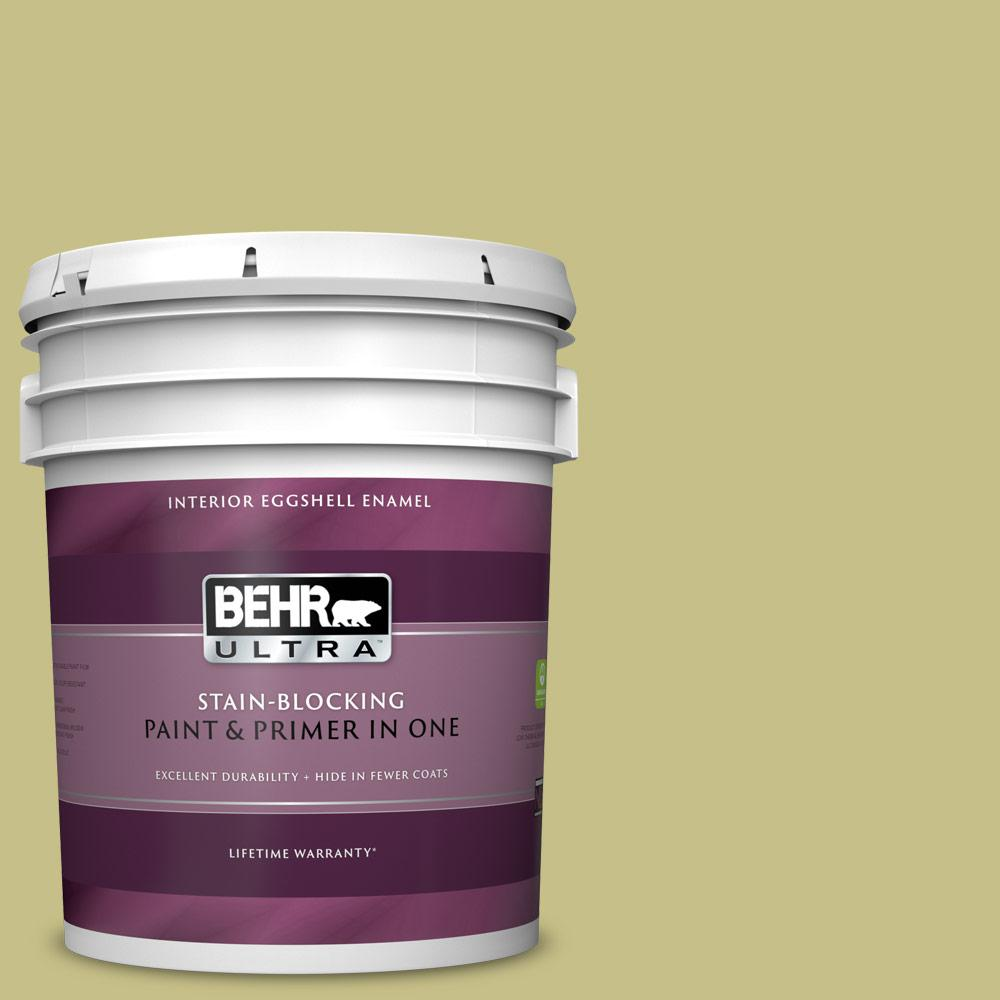 Behr Ultra 5 Gal Ppu9 11 Wheat Grass Eggshell Enamel Interior Paint And Primer In One 275405 The Home Depot
