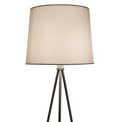 Alexandria Contemporary Tripod Floor Lamp With White Lamp Shade and E26 Light Socket - Free LED Bulb Included