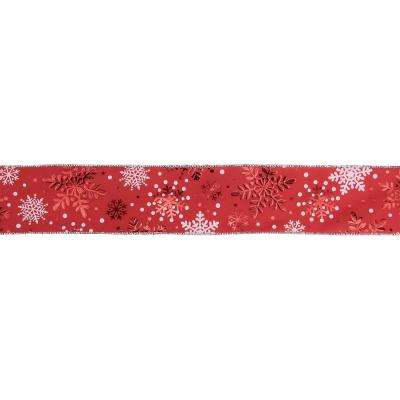 2.5 in. x 16 yds. Metallic Red and White Snowflake Wired Craft Ribbon