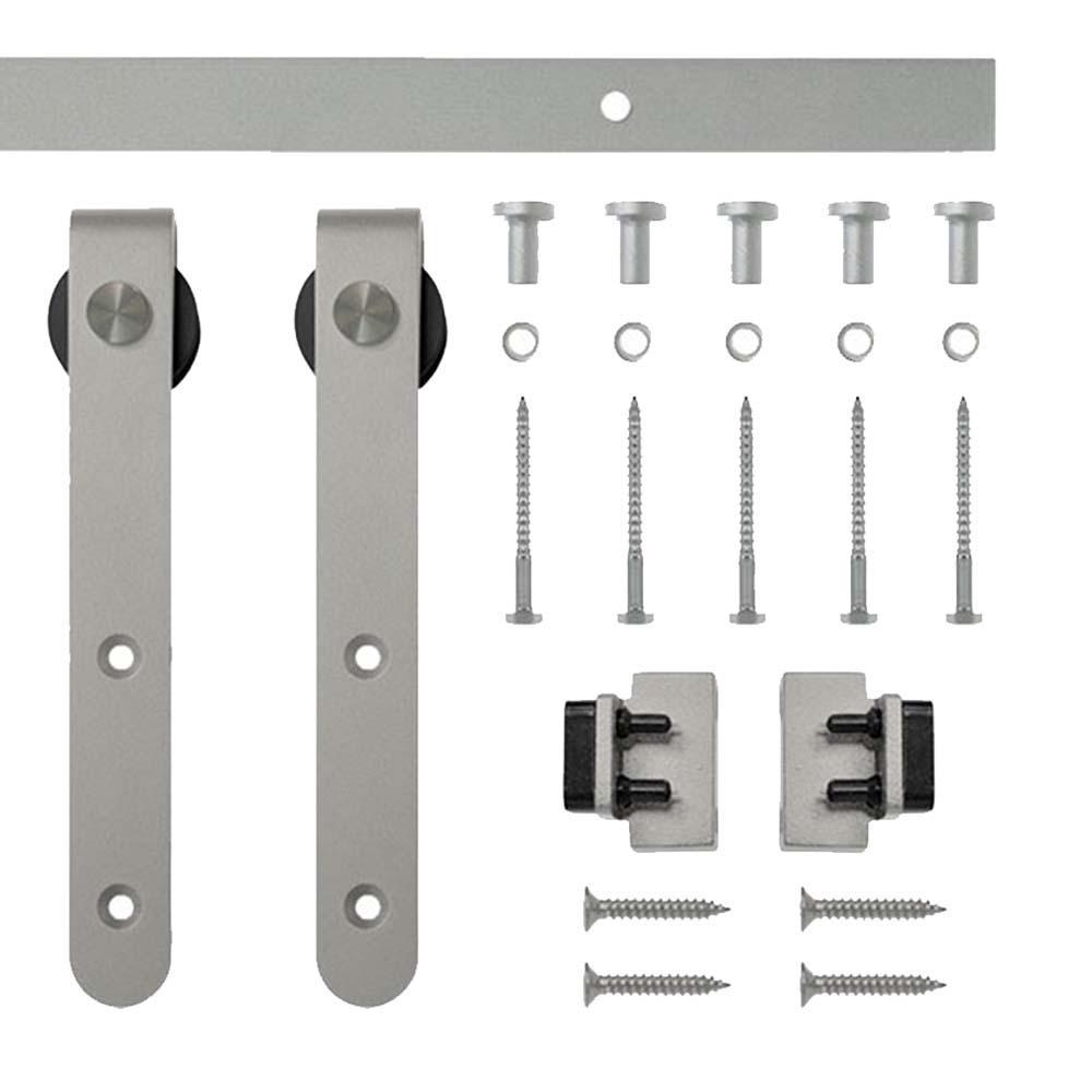 6 ft. Satin Nickel Round Hook Rolling Single Furniture Door Kit with Rail
