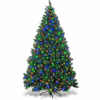 7.5 ft. Pre-Lit Dense Artificial Christmas Tree Hinged with 550 Multi-Color Lights and Stand