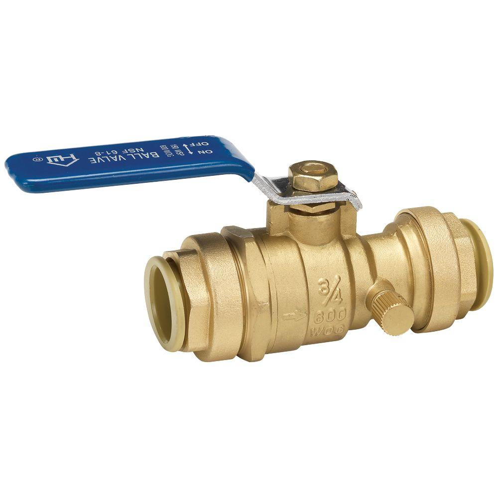 3/4 in. Brass Full Port Ball Valve with Drain and Push-Fit