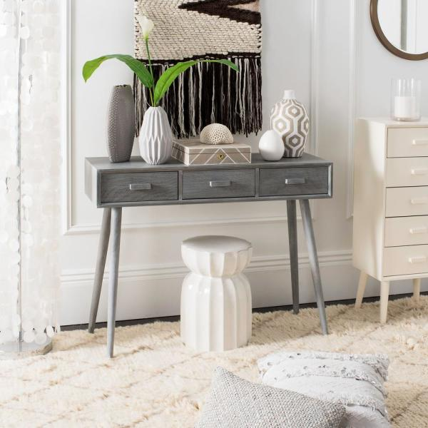 Safavieh Albus 3-Drawer Slate Gray Console Table CNS5701C