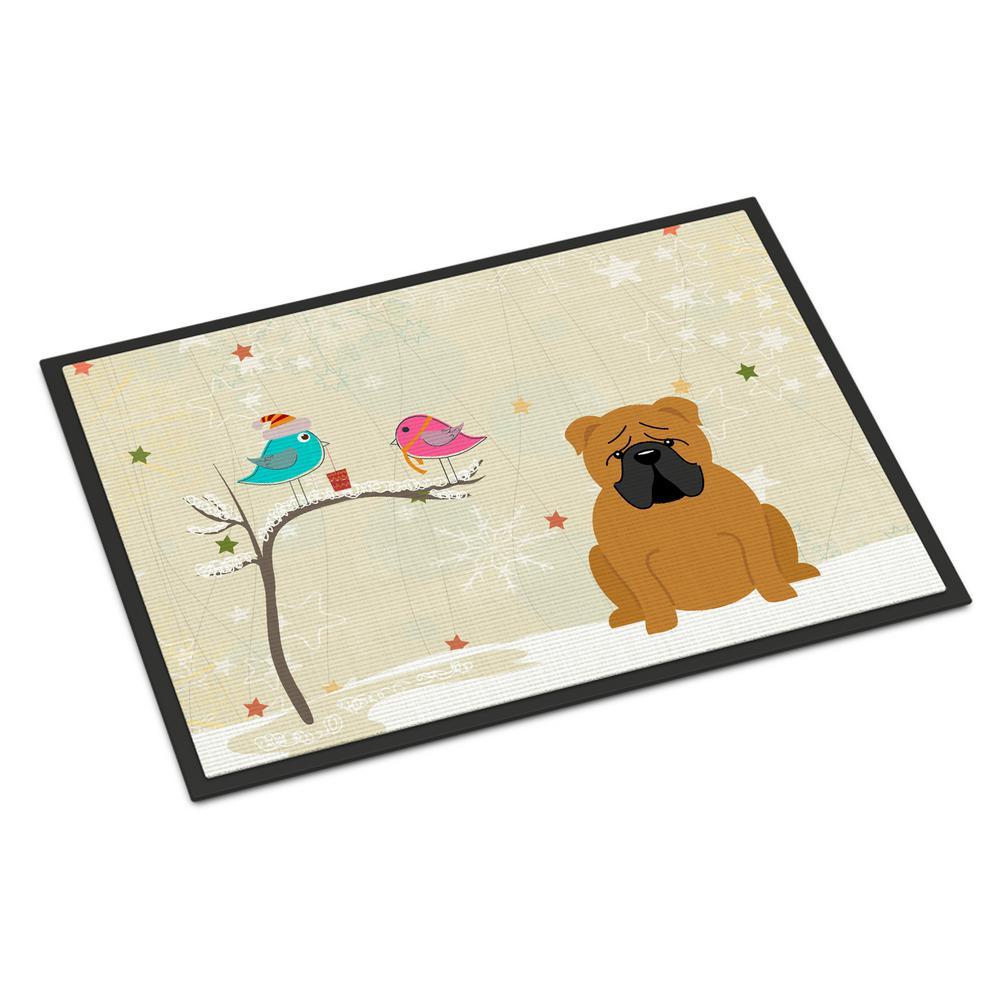24 in. x 36 in. Indoor/Outdoor Christmas Presents between Friends English Bulldog Red Door Mat