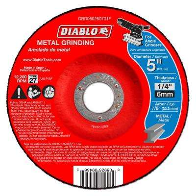 5 in. x 1/4 in. x 7/8 in. Metal Grinding Disc with Type 27 Depressed Center (10-Pack)