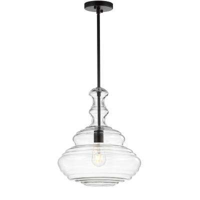 Bettina 13.37 in. 1-Light Oil Rubbed Bronze/Clear Glass/Metal LED Pendant