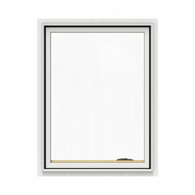 30.75 in. x 40.75 in. W-2500 Series White Painted Clad Wood Right-Handed Casement Window with BetterVue Mesh Screen