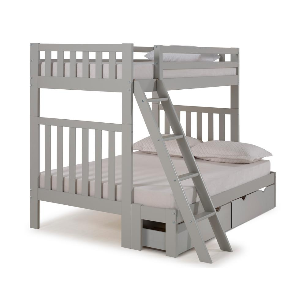Aurora Dove Gray Twin Over Full Bunk Bed with Storage Drawers