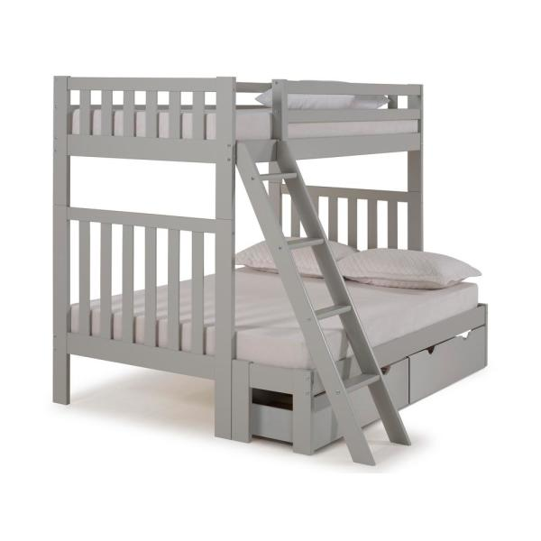 Alaterre Furniture Aurora Dove Gray Twin Over Full Bunk Bed With