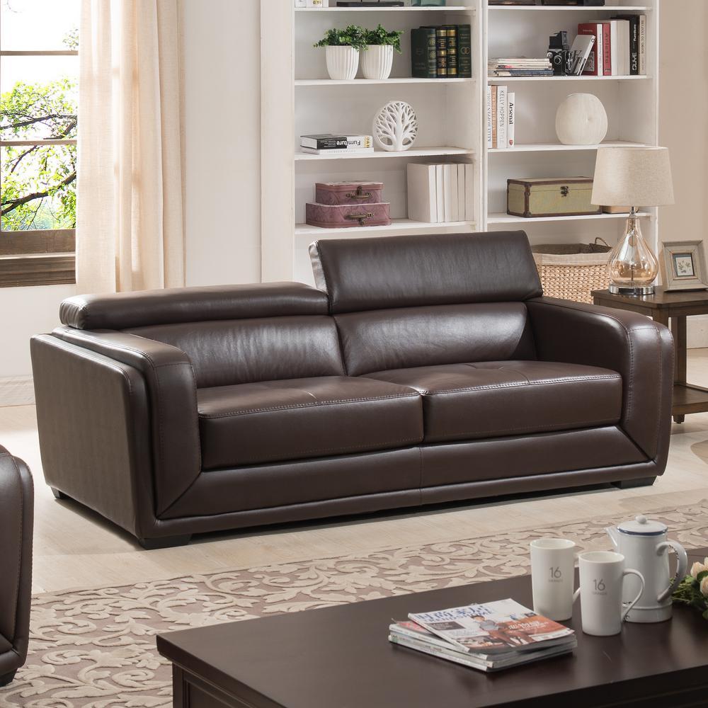 Calvin Dark Brown Modern Style Leather Living Room Sofa