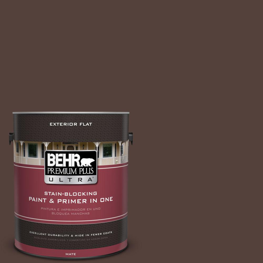 BEHR Premium Plus Ultra 1-gal. #PPF-51 Dark Walnut Flat Exterior Paint