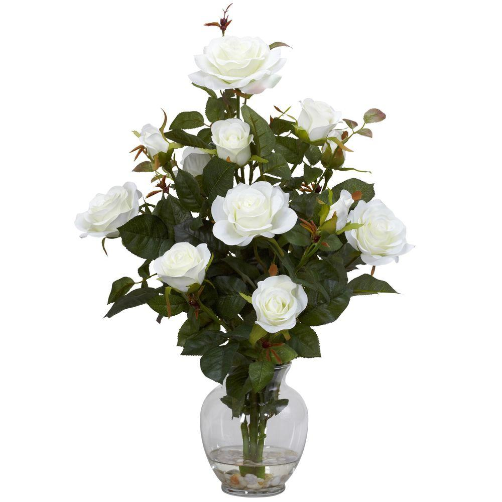 Nearly Natural 22 In H White Rose Bush With Vase Silk Flower Arrangement 1281 Wh The Home Depot