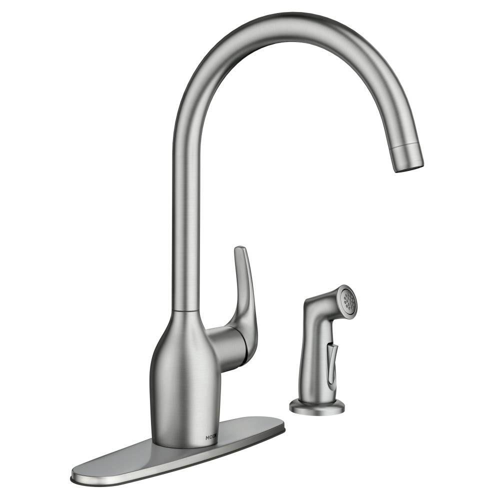 moen essie single handle standard kitchen faucet with side sprayer in spot resist stainless 87735srs the home depot