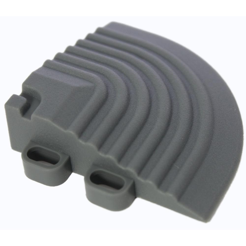 2.5 in. x 2.5 in. Slate Grey Corner Edging for 15.75 in. Swisstrax Modular Tile Flooring (2-Pack)