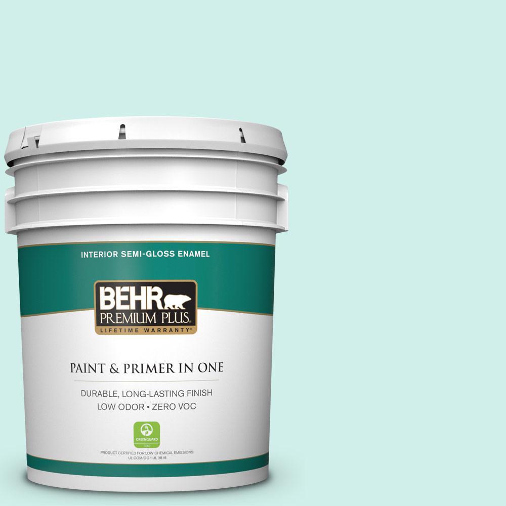 5 gal. #490A-1 Teal Ice Semi-Gloss Enamel Zero VOC Interior Paint