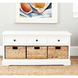 Safavieh Damien 3-Drawer Wood Storage Unit in Distressed Cream
