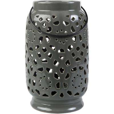 Kimba 11 in. Medium Gray Ceramic Lantern