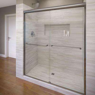 Celesta 48 in. x 71-1/4 in. Semi-Frameless Sliding Shower Door in Silver with AquaGlideXP Clear Glass