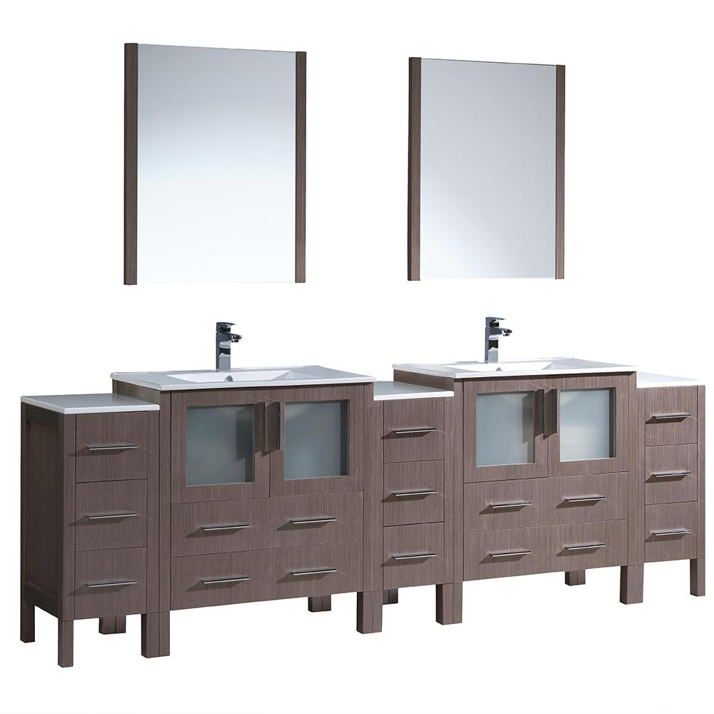 Fresca Torino 96 in. Double Vanity in Gray Oak with Ceramic Vanity ...