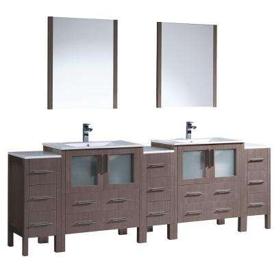 Torino 96 in. Double Vanity in Gray Oak with Ceramic Vanity Top in White with White Basins and Mirrors