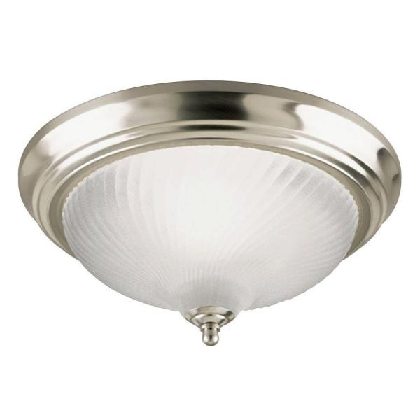 1-Light Brushed Nickel Interior Ceiling Flush Mount with Frosted Swirl Glass