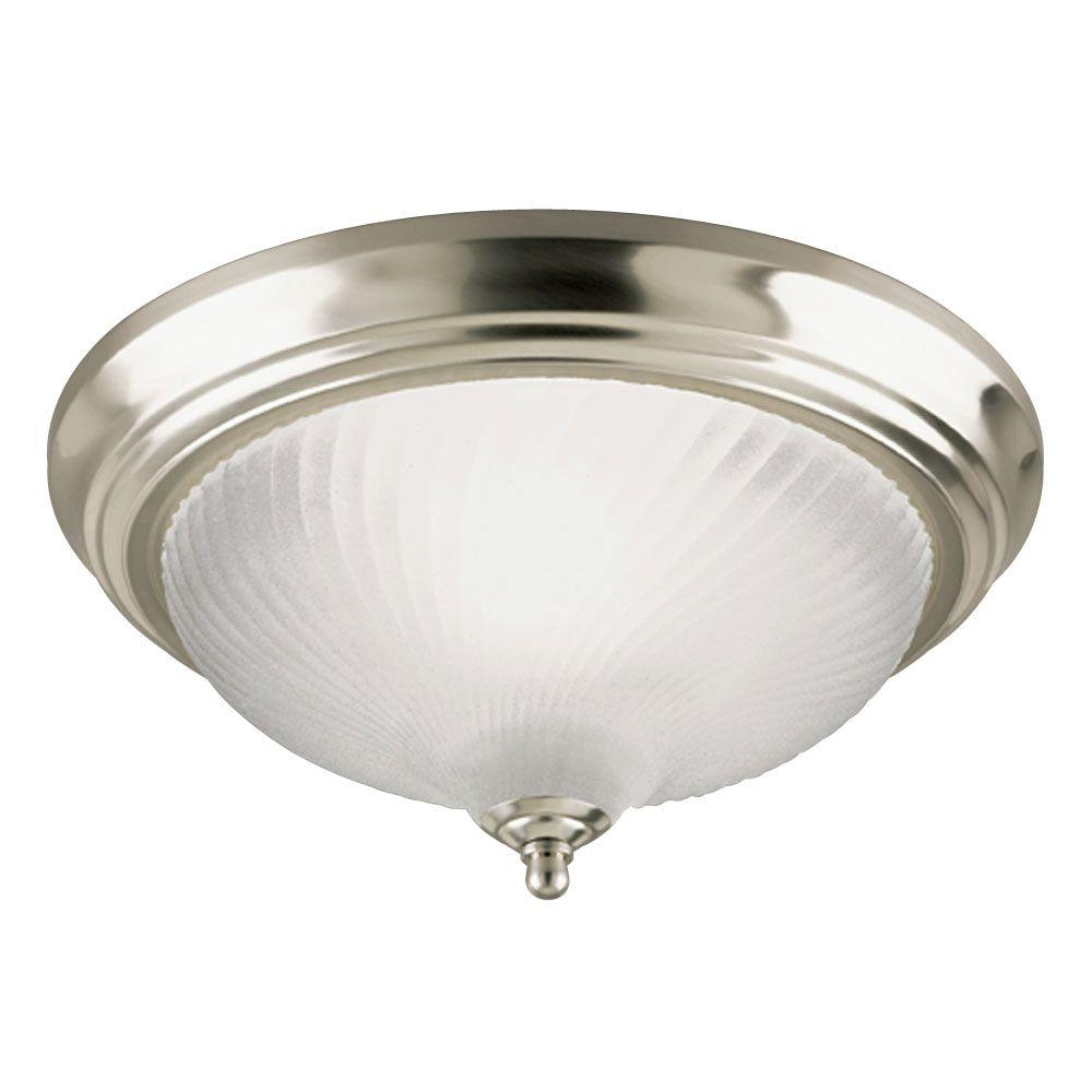 1-Light Brushed Nickel Interior Ceiling Flushmount with Frosted Swirl Glass