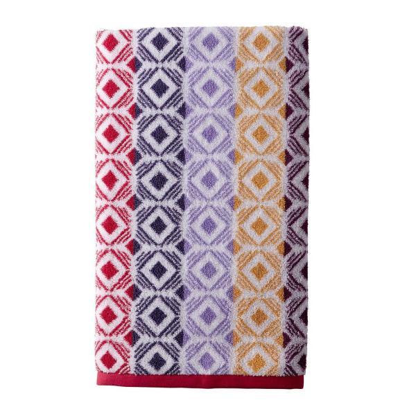 The Company Store Facets Cotton Single Bath Towel in Red Multi