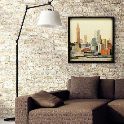 "25 in. x 25 in. ""New York City Skyline"" Dimensional Collage Framed Graphic Art Under Glass Wall Art"