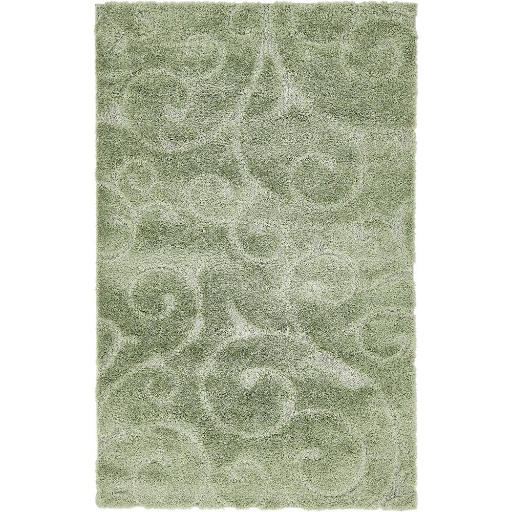Floral Shag Green 5 ft. x 8 ft. Area Rug