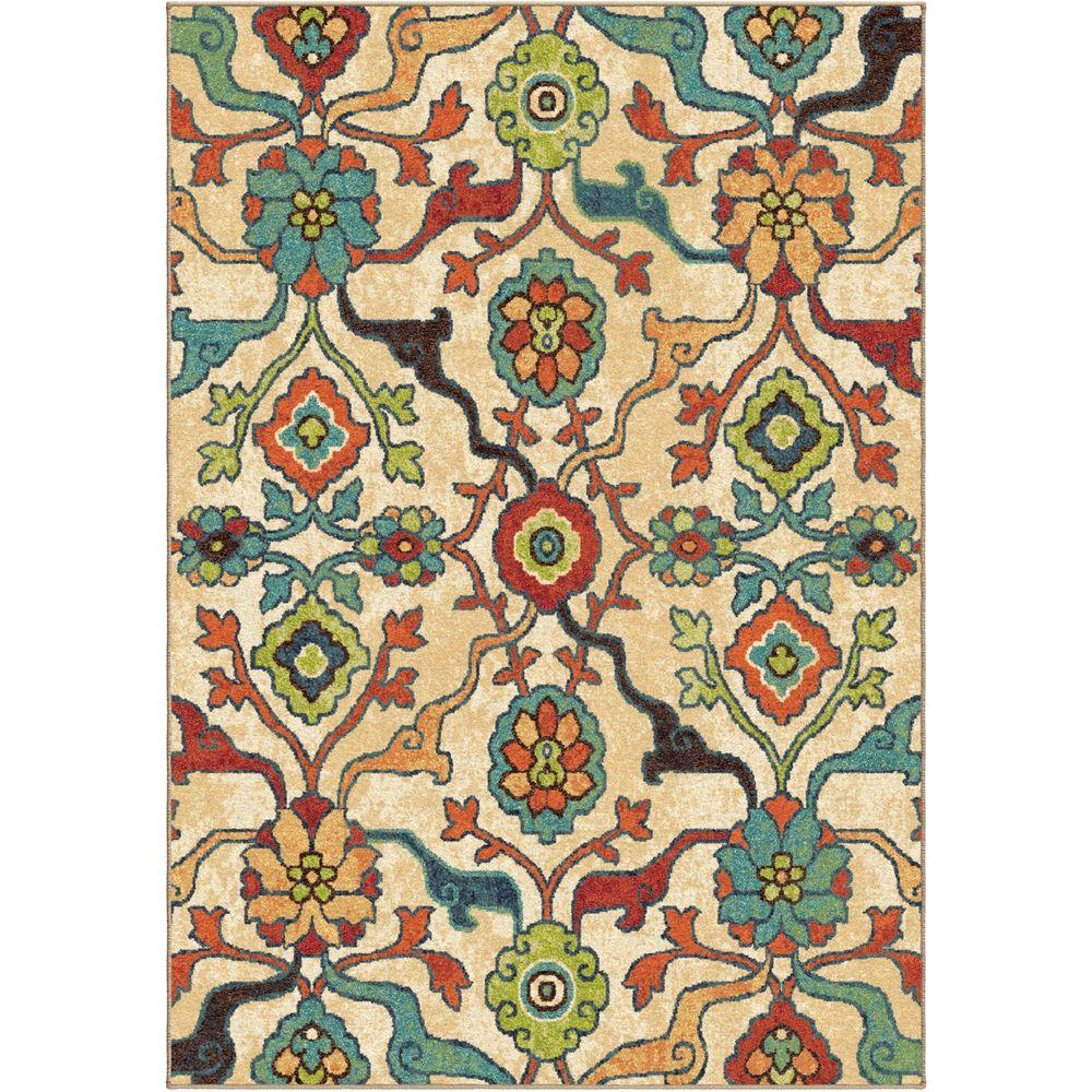 Orian Rugs Punjab Multi Fl Bright Colors 8 Ft X 11 Indoor Area Rug 354744 The Home Depot