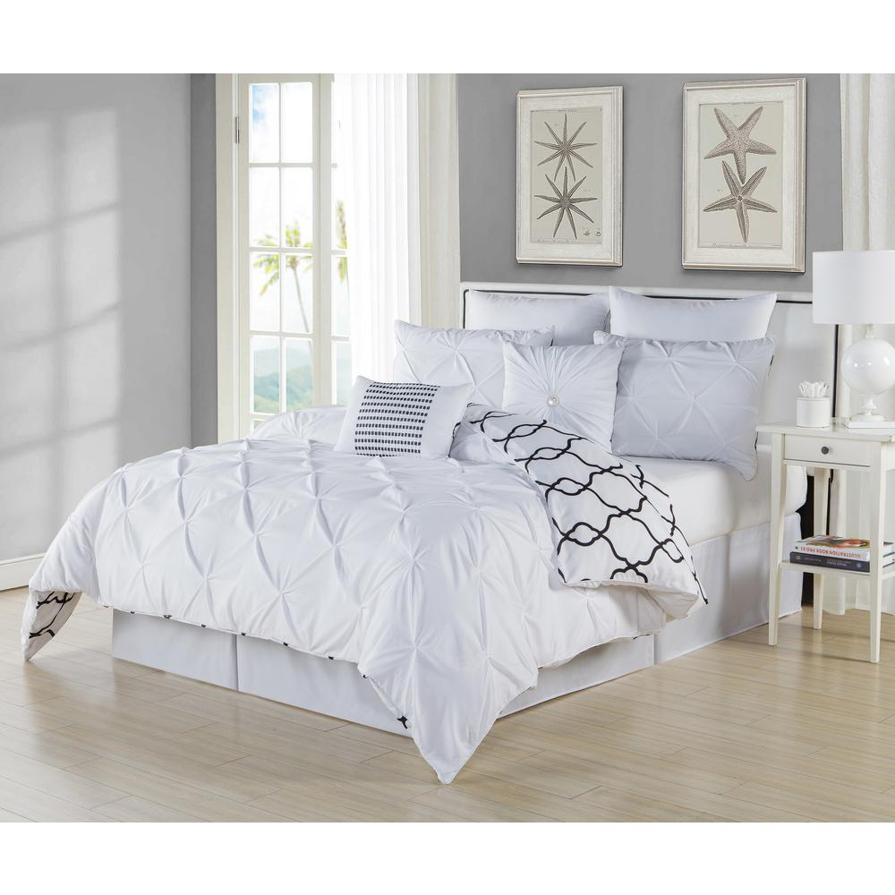 duck river esy pintuck reversible white 8 piece queen comforter set esy 10520d 1 the home depot. Black Bedroom Furniture Sets. Home Design Ideas