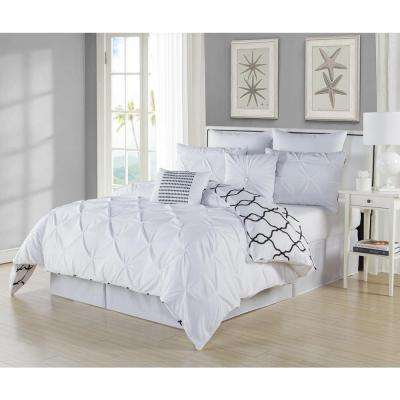 Esy Pintuck Reversible White 8-Piece Queen Comforter Set