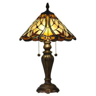 Coda 24 in. Antique Bronze Table Lamp with Hand Rolled Art Glass Shade