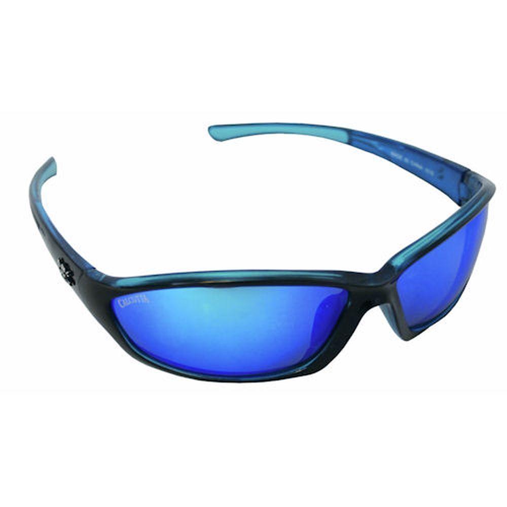 Black/Blue Frame Backspray Sunglasses with Blue Mirror Lenses