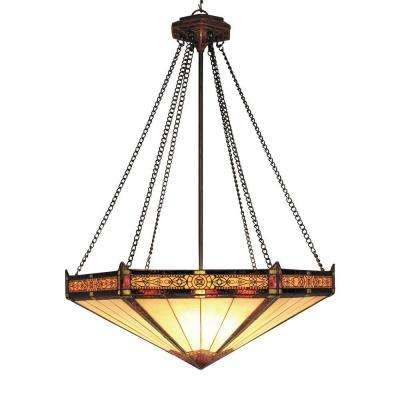 Filigree 3-Light Aged Bronze Ceiling Mount Pendant