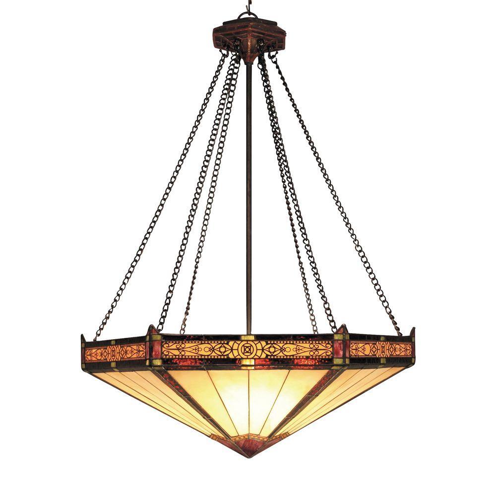 Filigree 3-Light Aged Bronze Ceiling Mount Pendant