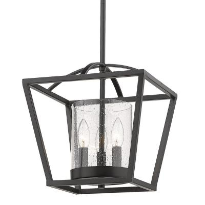 Mercer 3-Light Matte Black Mini Chandelier with Matte Black Accents and Seeded Glass