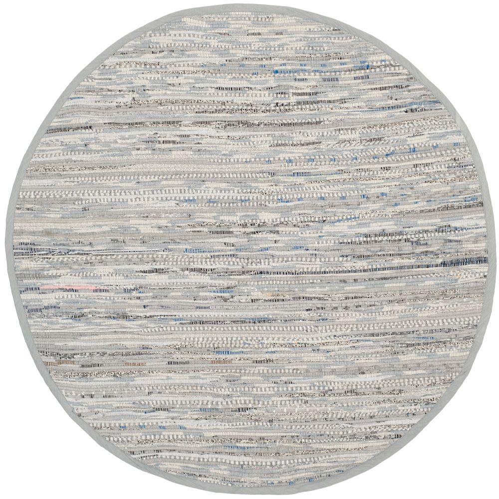 Safavieh Rag Rug Grey 8 ft. x 8 ft. Round Area Rug, Gray