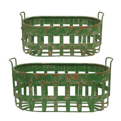 14-1/2 in. and 9 in. L Metal Basket in Green (Set of 2)