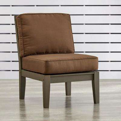 Verdon Gorge Gray Oiled Wood Outdoor Extension Lounge Chair with Brown Cushion