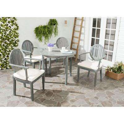 Chino Ash Gray 5-Piece Patio Dining Set with Beige Cushions